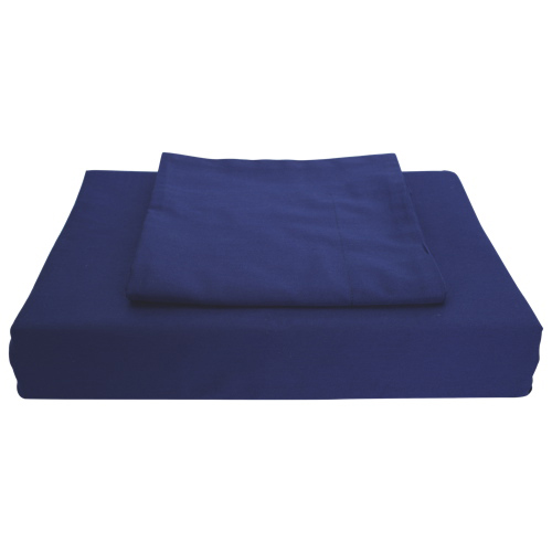 Maholi Solid Collection 250 Thread Count Egyptian Cotton Duvet Cover Set - King - Navy