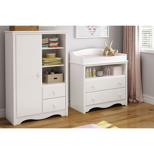 South Shore Angel Changing Table And Armoire With Drawers   Pure White