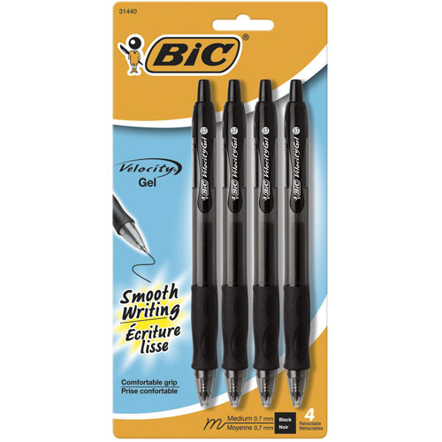 BIC Velocity Retractable Gel Pen (RLCP41-BLK) - 4 Pack - Black