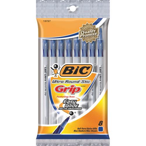 BIC Round Stic Grip Ballpoint Pen (GSMGP81-BLU) - 8 Pack - Blue