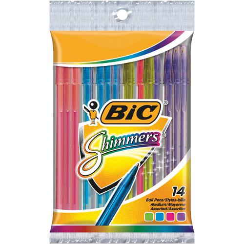 Stylo à bille rétactable Shimmers de BIC (WMS101SHB-AST) - Paquet de 14 - Plusieurs couleurs
