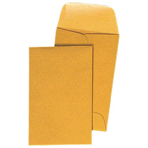 Enveloppe à monnaie de 2,25 x 3,5 po de Quality Park - Paquet de 500 - Brun