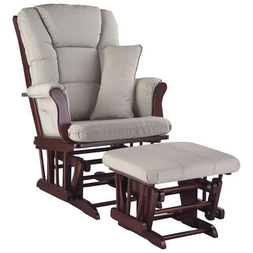 Storkcraft tuscany glider and ottoman set cherry taupe for Stork craft tuscany glider rocking chair ottoman