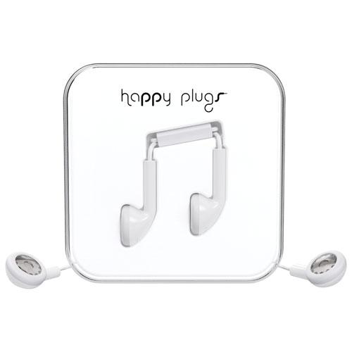 Écouteurs bouton avec microphone de Happy Plugs - Blanc