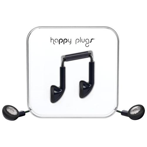 Écouteurs bouton avec microphone de Happy Plugs - Noir