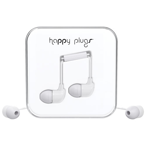 Happy Plugs In-Ear Sound Isolating Headphones with Mic - White