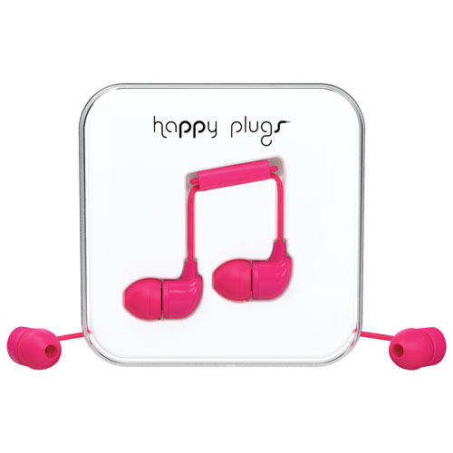 Happy Plugs In-Ear Sound Isolating Headphones with Mic - Cerise