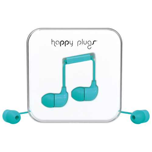 Happy Plugs In-Ear Sound Isolating Headphones with Mic - Turquoise