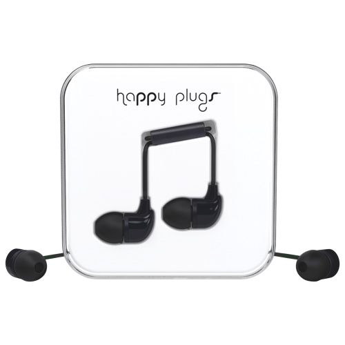Happy Plugs In-Ear Sound Isolating Headphones with Mic - Black