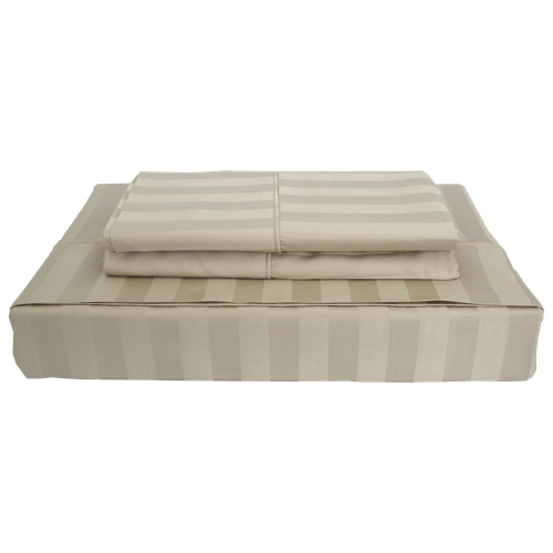 Maholi Damask Stripe Collection 310 Thread Count Rayon Sheet Set - Double/Full/Twin - Beige