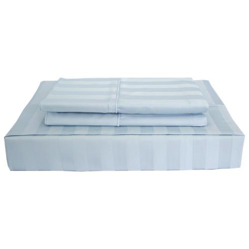 Maholi Damask Stripe Collection 310 Thread Count Rayon Sheet Set - Single/Twin - Blue
