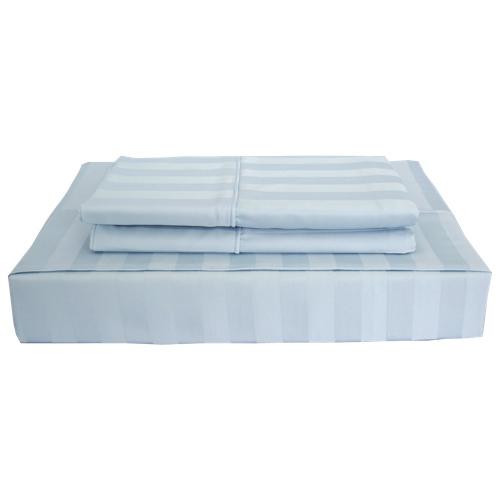 Maholi Damask Stripe Collection 310 Thread Count Rayon Sheet Set - King - Blue