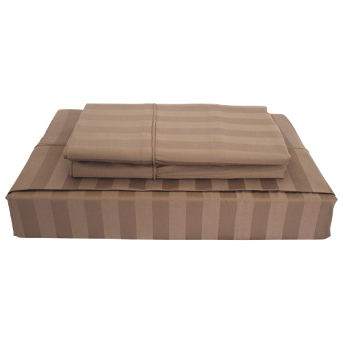 Ens. de draps en rayonne contexture de 310 collection Damask Stripe de Maholi - Lit double - Vison