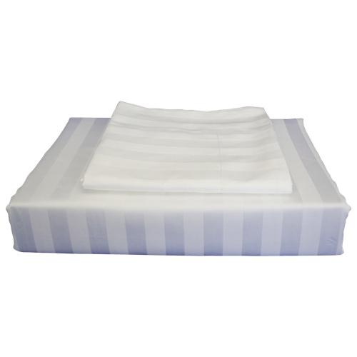 Ensemble housse de douillette rayonne cont. 310 Damask Stripe de Maholi - Très grand lit - Blanc
