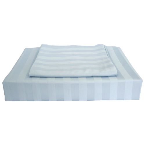 Maholi Damask Stripe Collection 310 Thread Count Rayon Duvet Cover Set - Double/Full - Blue