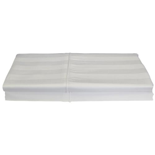 Taie d'oreiller en rayonne contexture 310 Damask Stripe de Maholi - Paquet de 2 - Grand - Blanc