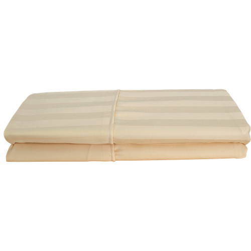 Maholi Damask Stripe Collection 310 Thread Count Rayon Pillowcases - Queen - Beige