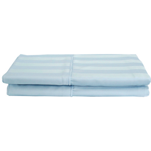 Maholi Damask Stripe Collection 310 Thread Count Rayon Pillow Case - 2 Pack - King - Blue