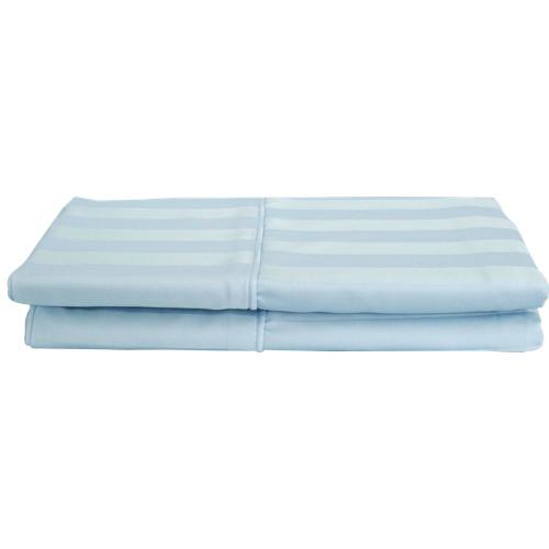 Ens. 2 taies d'oreiller en rayonne contexture 310 Damask Stripe de Maholi - Très grand lit - Bleu