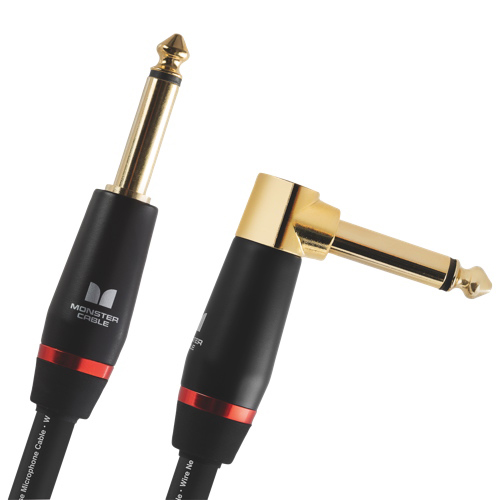 """Monster 3.7m (12ft.) 1/4"""" Angled Mono Male to Mono Male Bass Instrument Cable (M BASS2-12A WW)"""