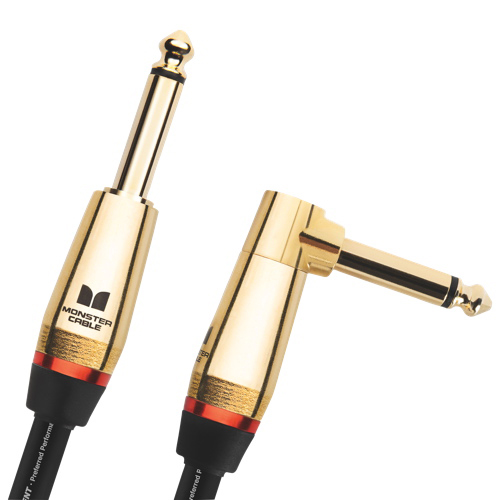 """Monster Rock 3.7 m (12 ft) 1/4"""" Angled to Straight Instrument Cable (M ROCK2-12A WW)"""