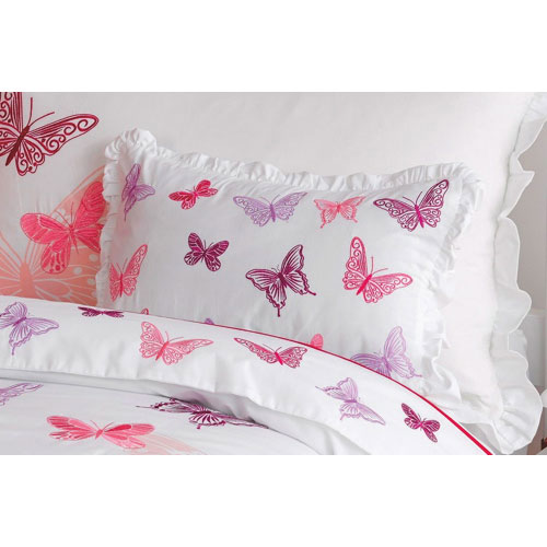 Maholi Fly Butterfly Collection 200 Thread Count Polyester/Cotton Square Cushion - White