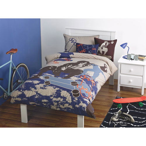 Maholi KIDS Skater Collection 200 Thread Count Cotton/Poly Sheet Set - Double/Full - Blue
