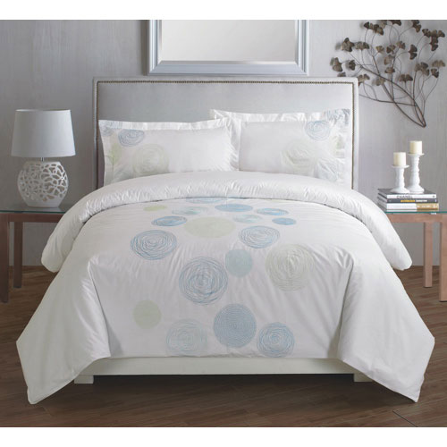Maholi Spiral Collection 310 Thread Count Cotton Percale Duvet Cover Set - Queen - Blue