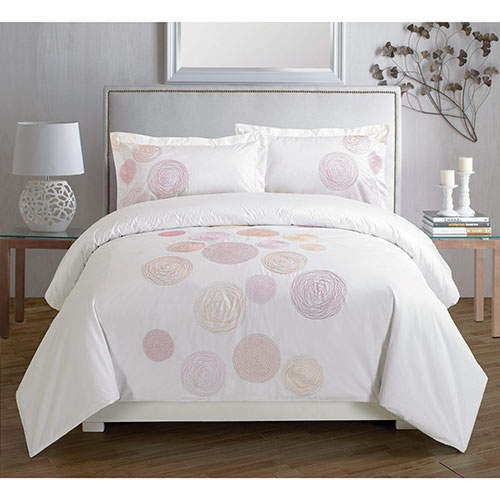 Maholi Spiral Collection 200 Thread Count Cotton Percale Duvet Cover Set - Queen - Red