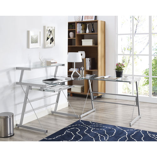 Broderick Contemporary Corner Desk - Clear Glass
