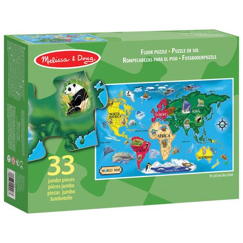 Melissa  Doug World Map Floor Puzzle  33 Pieces  Kids Puzzles