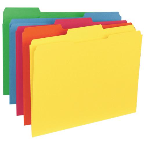Chemise à onglet supérieur de Sparco (SP21274) - Lettre - Paquet de 100 - Couleurs assorties