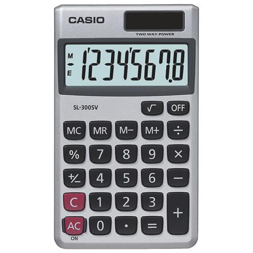 Casio 8-Digit Handheld Pocket Calculator (CSOSL300SVSCH)