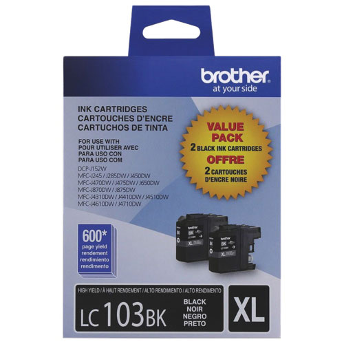 Brother LC103BK XL Black Ink - 2 Pack