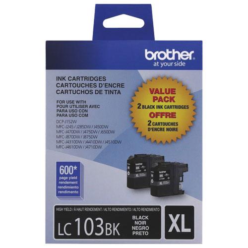 Cartouche d'encre noire LC103BK XL de Brother - Paquet de 2