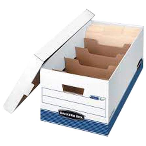 Boîte de rangement R-Kive Bankers Box avec séparateurs (FEL0083101C) - Lettre - Blanc-bleu