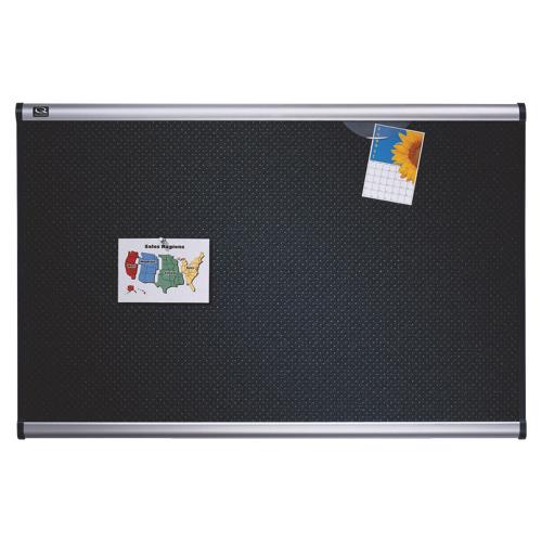 """Quartet Prestige 72"""" x 48"""" Embossed Foam Bulletin Board (QRTB347A) - Black"""