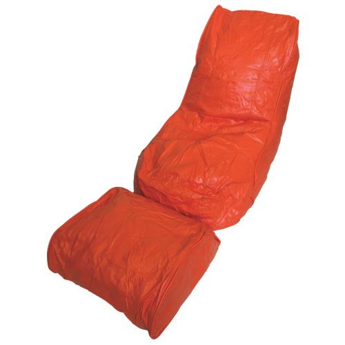 Ensemble chaise longue poire et repose-pieds modernes - Orange