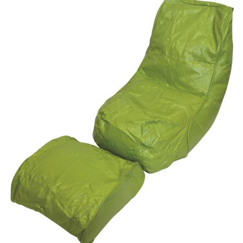 Fauteuil poire en vinyle Boscoman avec repose-pied - Vert