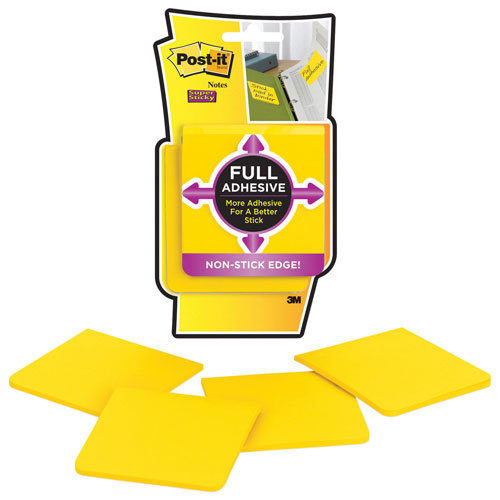 Post-It Notes Super Sticky Full Adhesive Note Pad - 4 Pack - Yellow