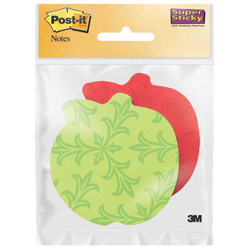 Post-It Notes Super Sticky Die-Cut Apple Sticky Note Pad - 2 Pack - Assorted Colours