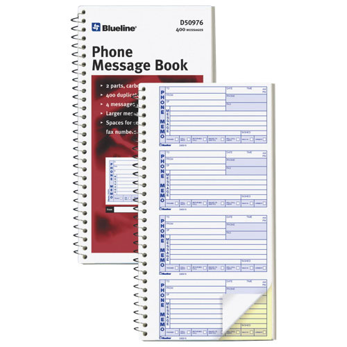 Blueline 400 Phone Message Book - White - 2 Pack