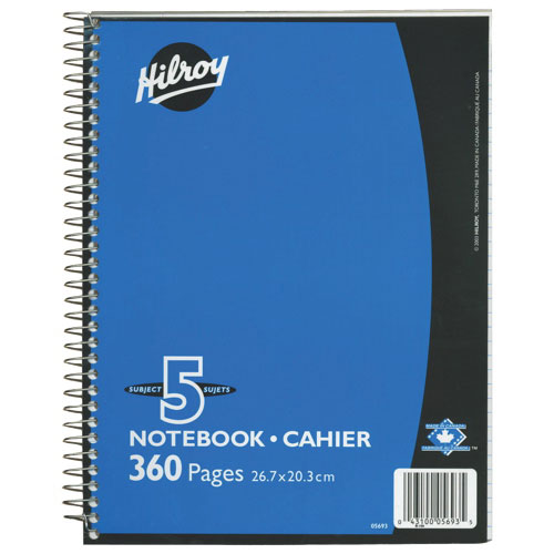 "Hilroy 8"" x 10.5"" 5-Subject Notebook - 360 Pages"