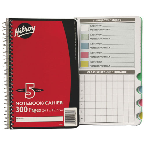 "Hilroy 6"" x 9.5"" 5-Subject Notebook - 300 Pages"
