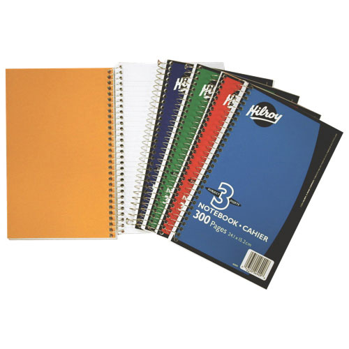 "Hilroy 6"" x 9.5"" 3-Subject Notebook - 300 Pages - Assorted Colours"