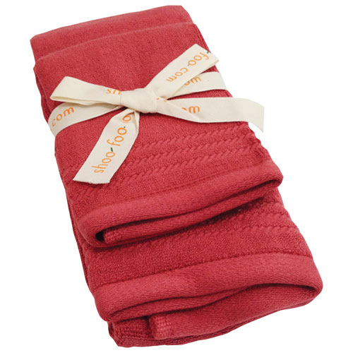 Ensemble de serviettes pour invités en bambou de Shoo-Foo - Rouge Cayenne