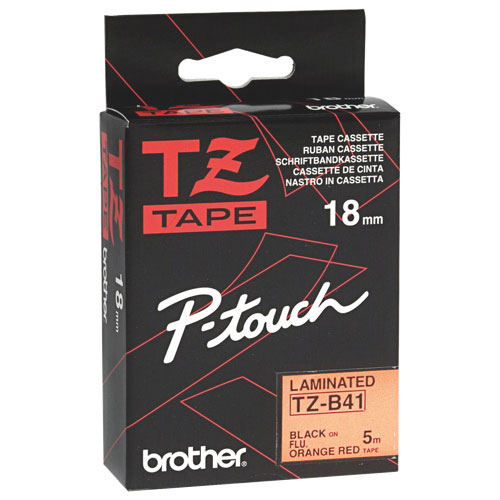 Brother P-Touch TZ 18mm Laminated Tape (BRTTZB41) - Fluorescent Orange/Black
