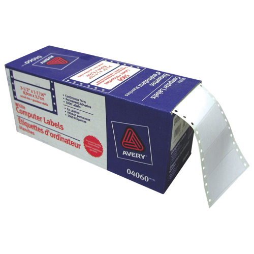 """Avery 3-1/2"""" x 1-7/16"""" Continuous Form Computer Labels (AVE04060) - 5000 Pack - White"""