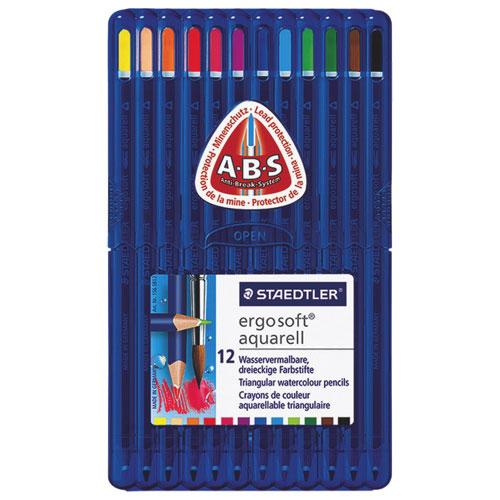 Crayon de couleur aquarelle 3 mm Ergosoft de STAEDTLER - Paquet de 12 - Couleurs assorties