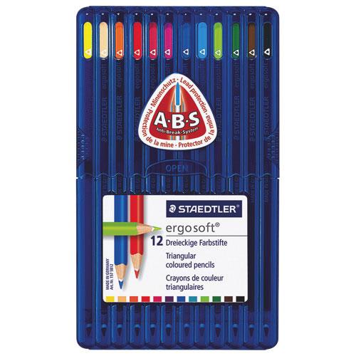 Crayon de couleur Ergosoft 3 mm de STAEDTLER - Paquet de 12 - Couleurs assorties
